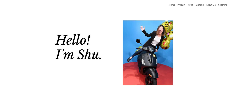 Screen capture of portfolio page of Shu Jiang, a product designer at Google