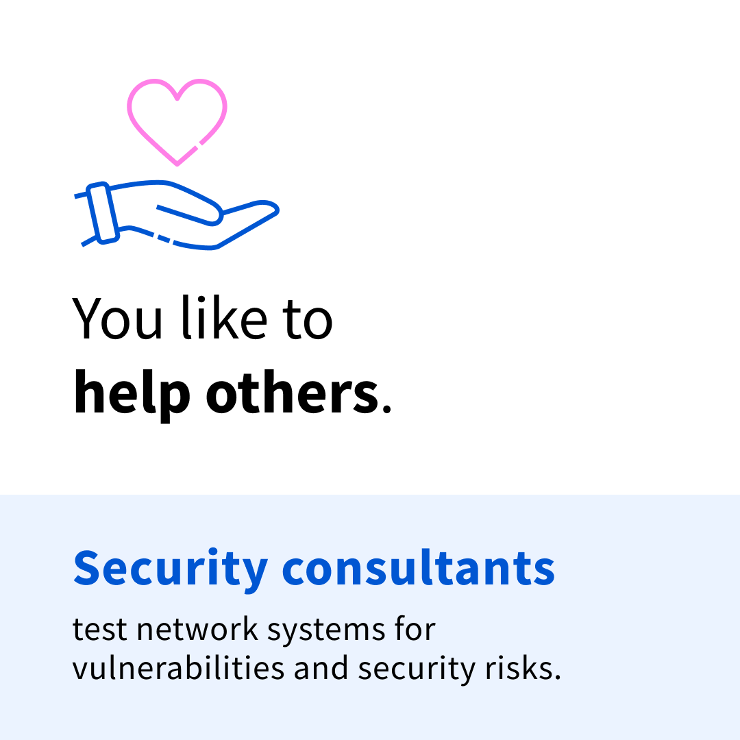 """Black and blue text on a white and blue background that says """"You like to help others. Security consultants test network systems for vulnerabilities and security risks."""""""