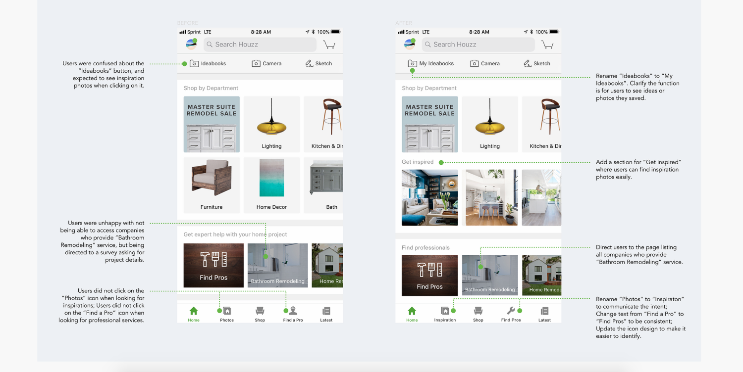 High-fidelity prototypes from an unsolicited redesign of Houzz