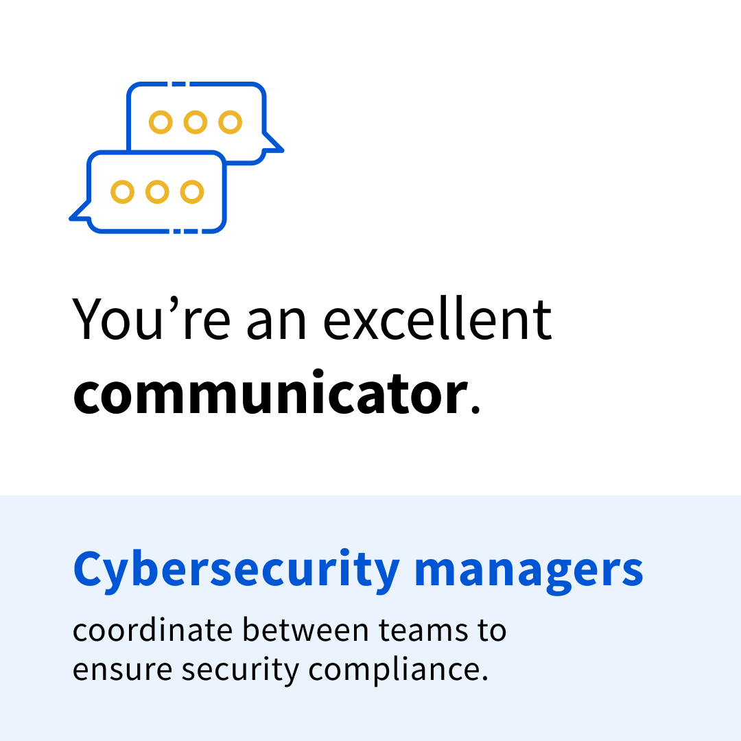 """Black and blue text on a white and blue background that says """"You're an excellent communicator. Cybersecurity managers coordinate between teams to ensure security compliance."""""""