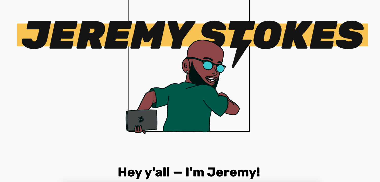 Portfolio screenshot of Jeremy Stokes, a former Google UX intern and current product designer at Duolingo