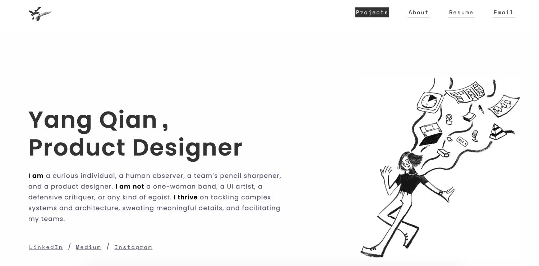 Screen shot of portfolio page for Yang Qian, a product designer at Palantir Technologies