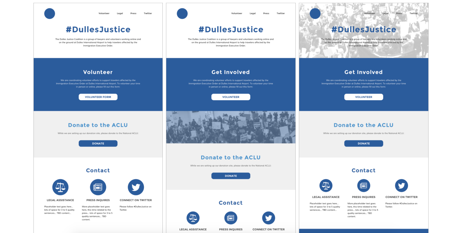 Homepage concepts for #DullesJustice project