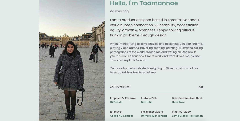 Tammy Taabassum UX design portfolio screenshot