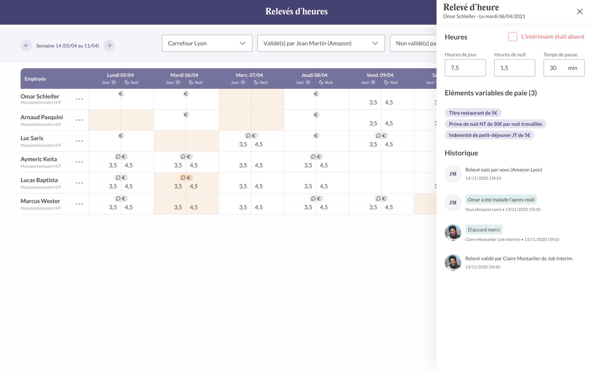 Capture d'écran de l'application Troops du relevé d'heures avec un tableau des horaires effectuées par jour et par employé.