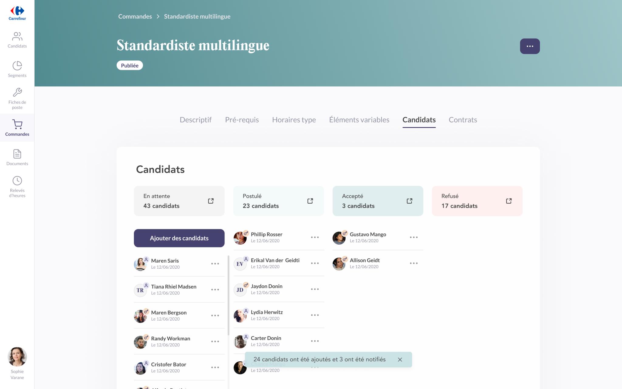 Capture d'écran de l'application Troops de la page de commande avec la liste des candidats.