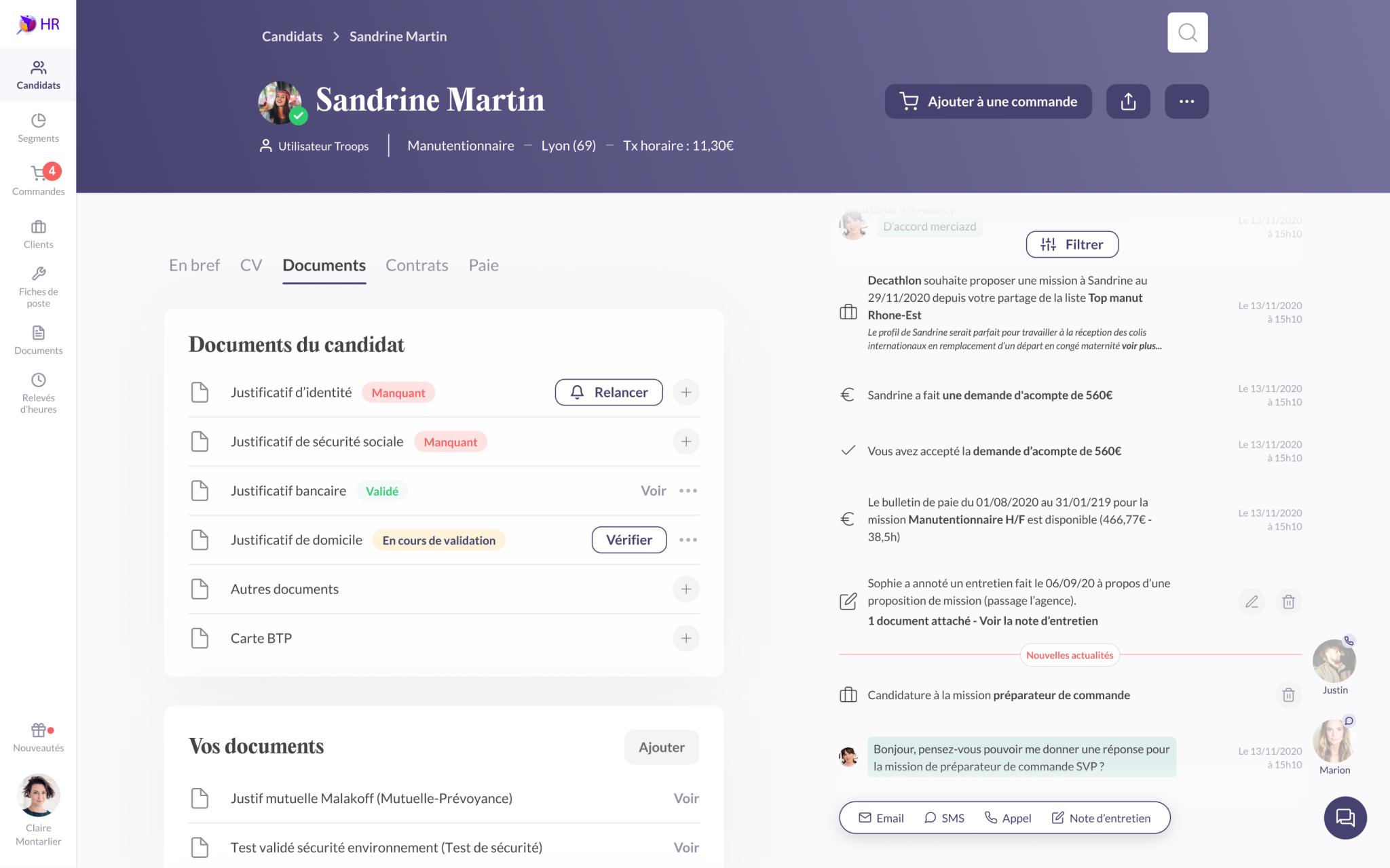 Capture d'écran de l'application Troops de la page de profil d'un candidat avec ses informations et ses documents.
