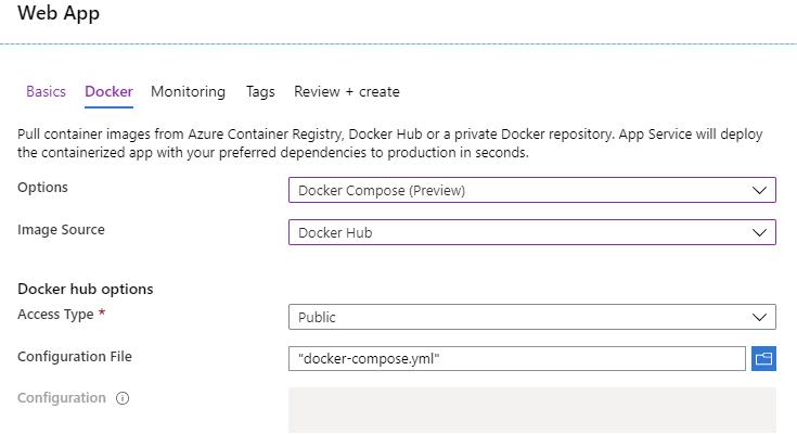 Azure Web App configuration