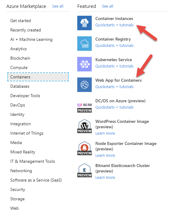 Azure-container-options