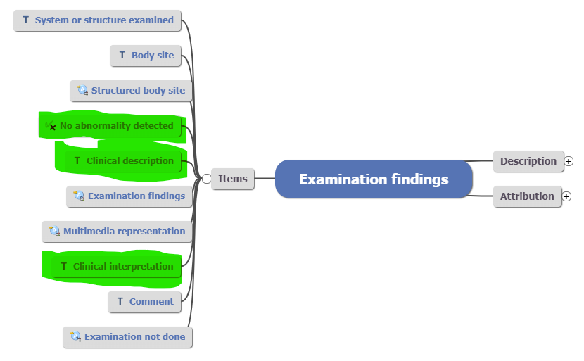 examination findings archetype - highlighted