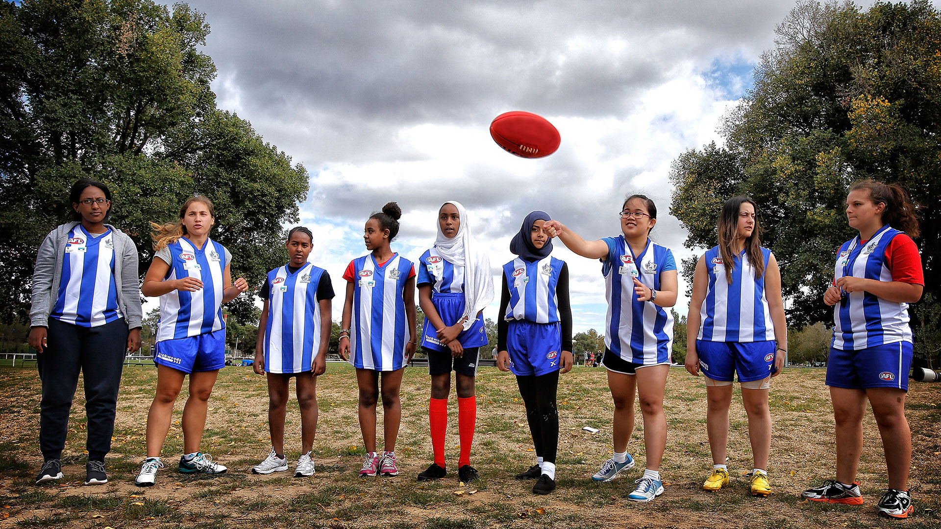 Players are seen prior to the round robin matches during the annual Unity Cup an AFL Multicultural Program at JJ Holland Park, Melbourne on March 16, 2014. (Photo: Andrew White/AFL Media)