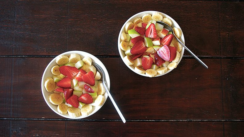 Two portions of fruit salad for breakfast