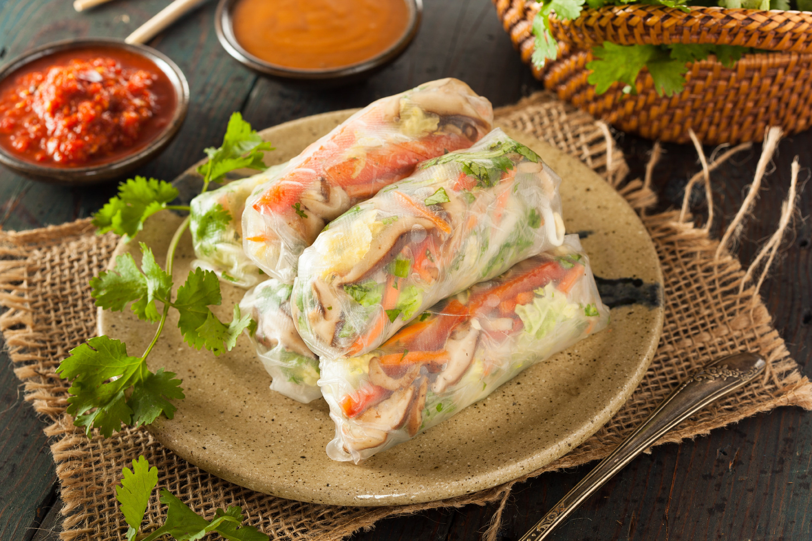 Healthy Vegetarian Spring Rolls with Cilantro Carrots and Cabbage