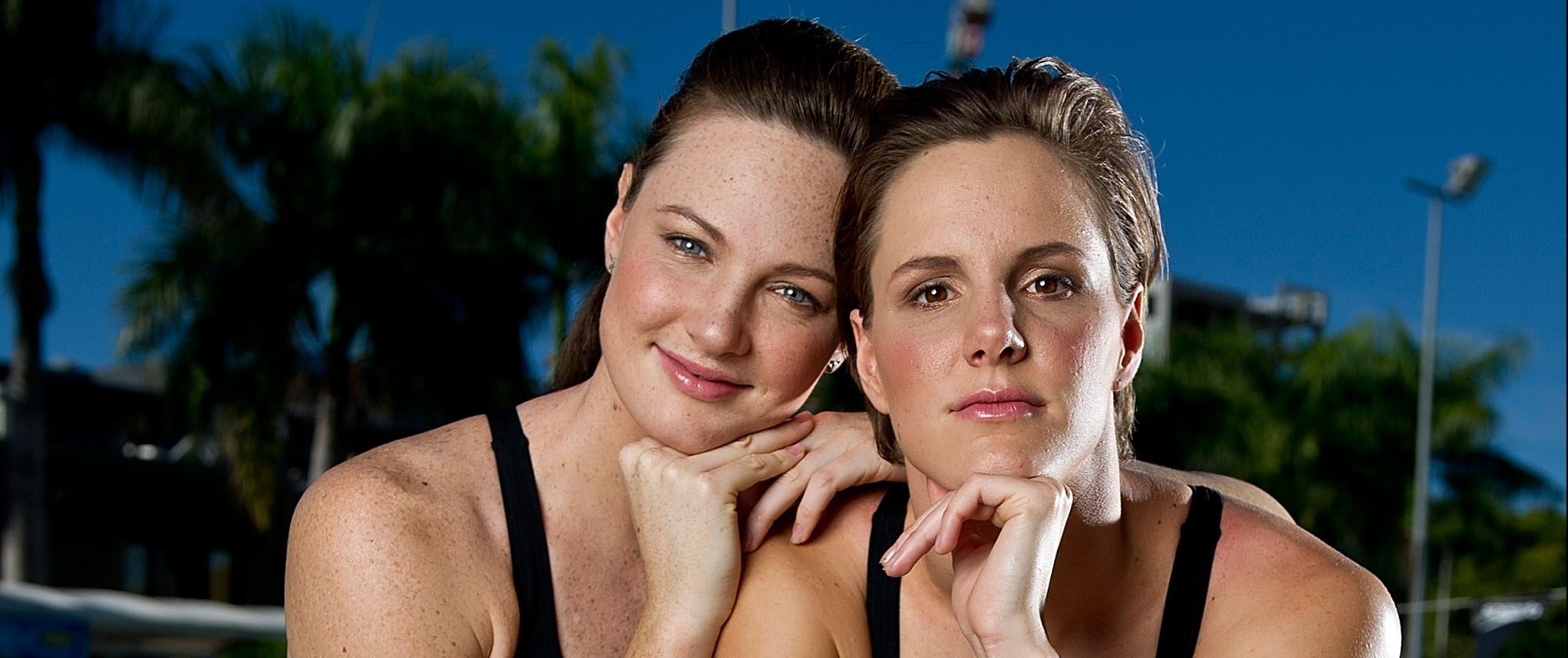 BRISBANE, QUEENSLAND - JUNE 02:  In this handout image provided by Uncle Tobys, (L-R) Cate and Bronte Campbell pose during a portrait session at the Valley Pool on June 2, 2014 in Brisbane, Australia.  (Photo by Matt Roberts/Uncle Tobys via Getty Images)