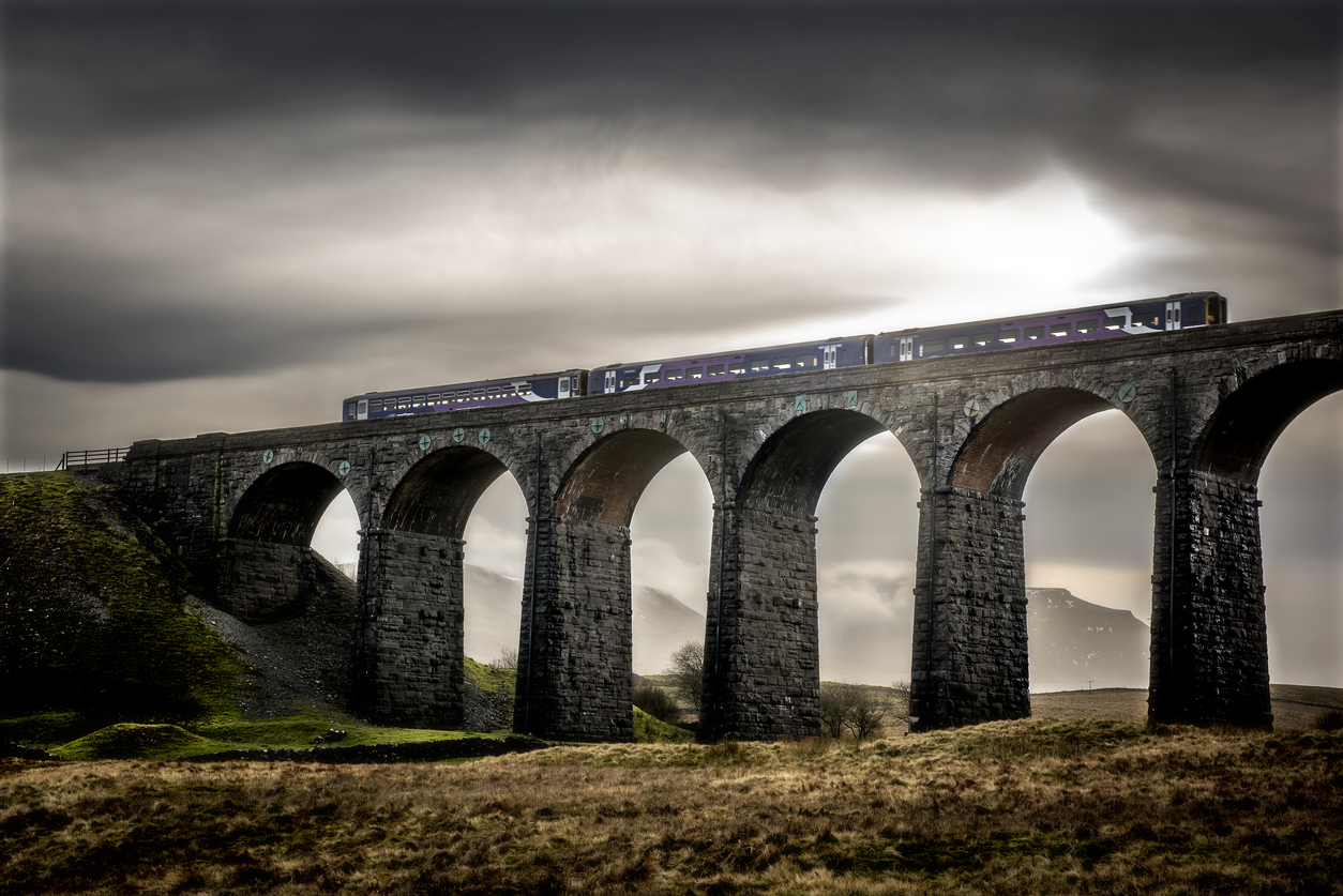 a train crossing Ribblehead Viaduct in North Yorkshire
