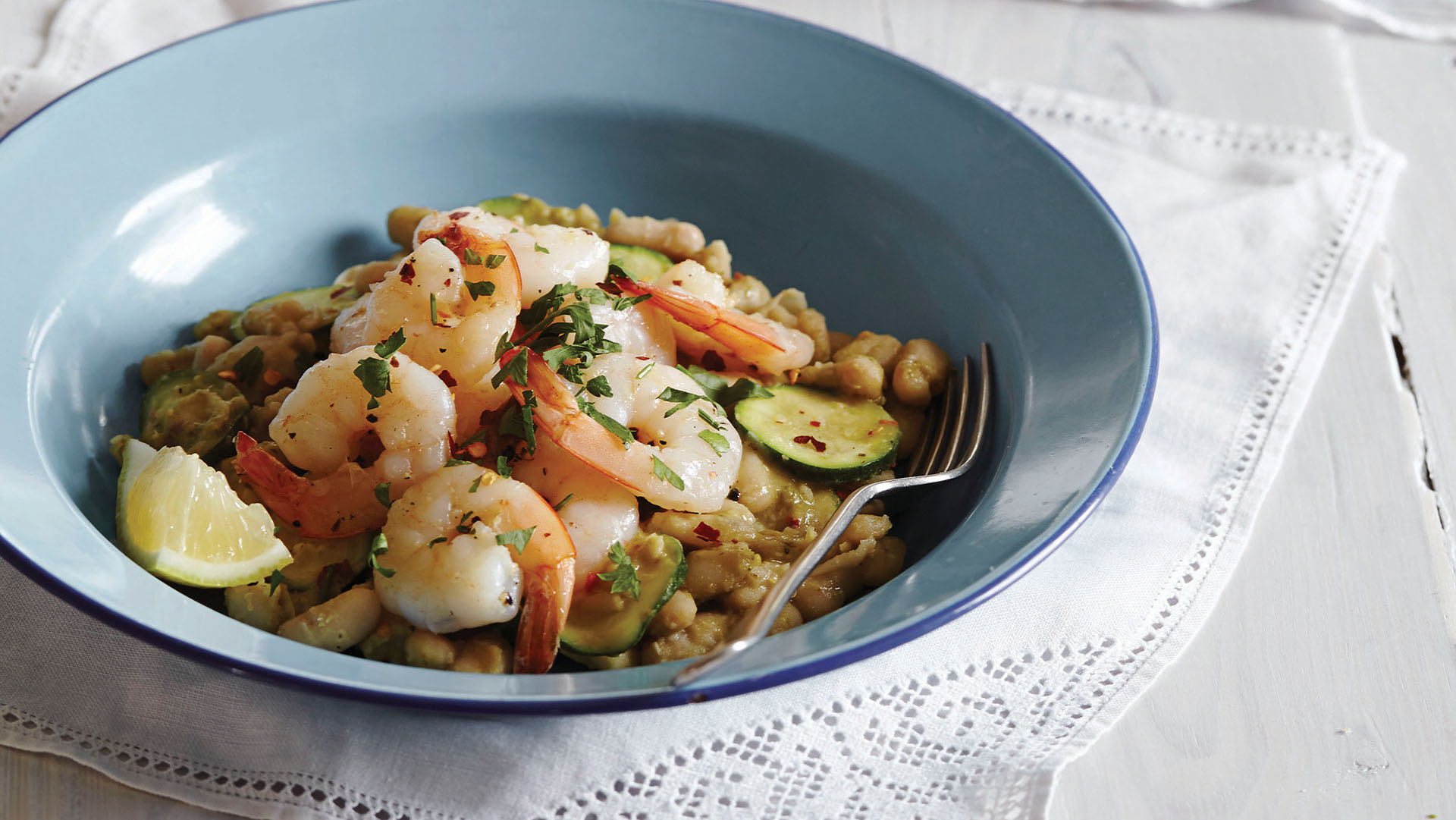 Prawns With Cannelli Beans and Rocket Pesto