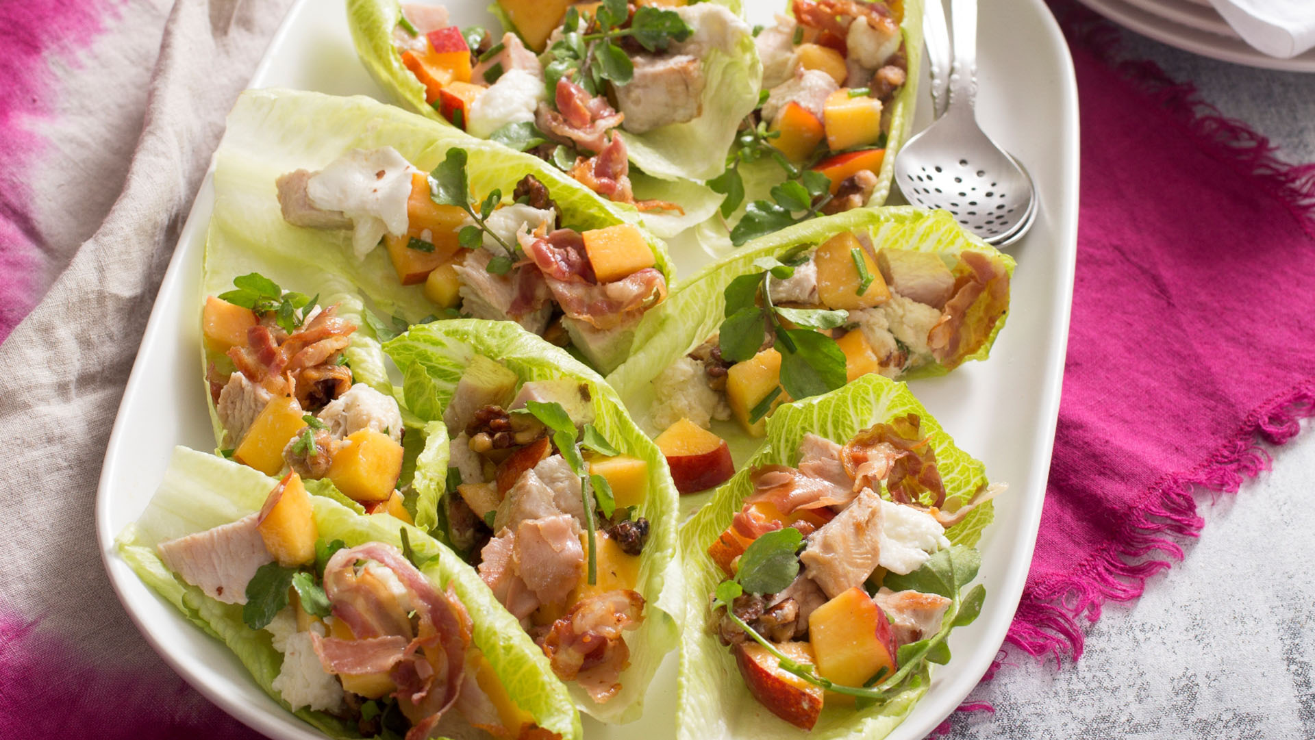 Turkey, Nectarine and Walnut Salad in Lettuce Cups_SM