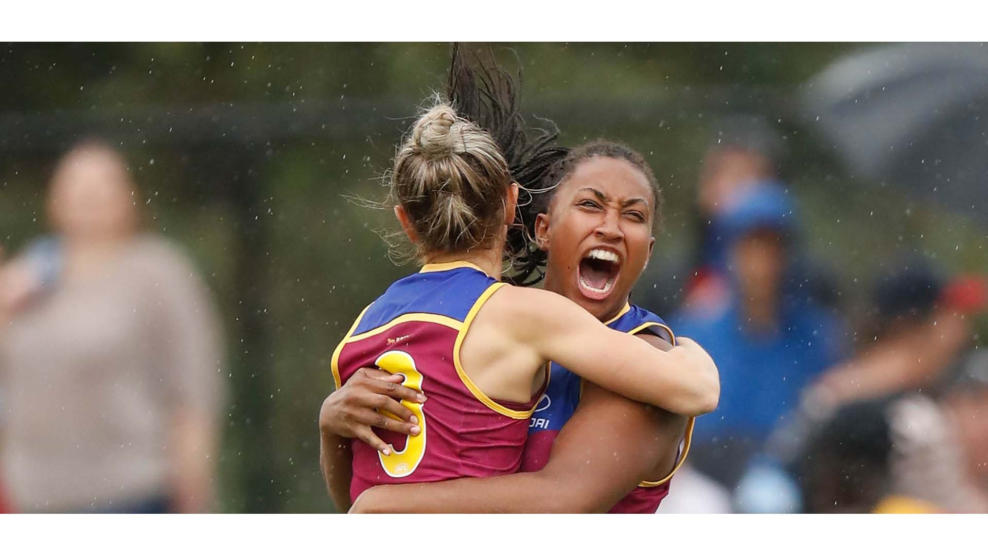 MELBOURNE, AUSTRALIA - FEBRUARY 5: Kate McCarthy and Sabrina Frederick-Traub of the Lions (right) celebrate during the 2017 AFLW Round 01 match between the Melbourne Demons and the Brisbane Lions at Casey Fields on February 5, 2017 in Melbourne, Australia. (Photo by Michael Willson/AFL Media)