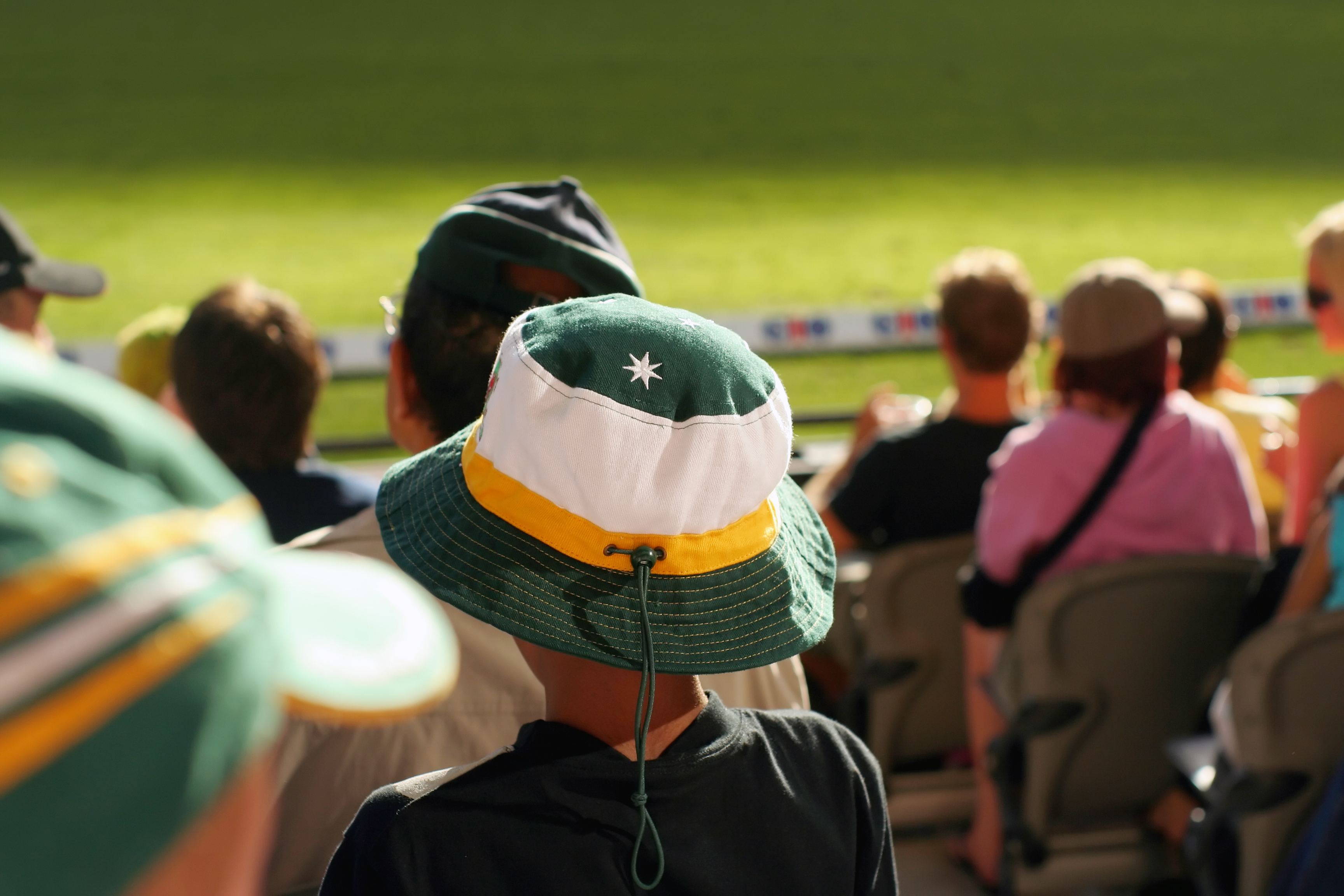 a young boy watches his team at a sports arena. Actually an Aussie cricket supporter watching Australia play an international match, but could be anywhere.