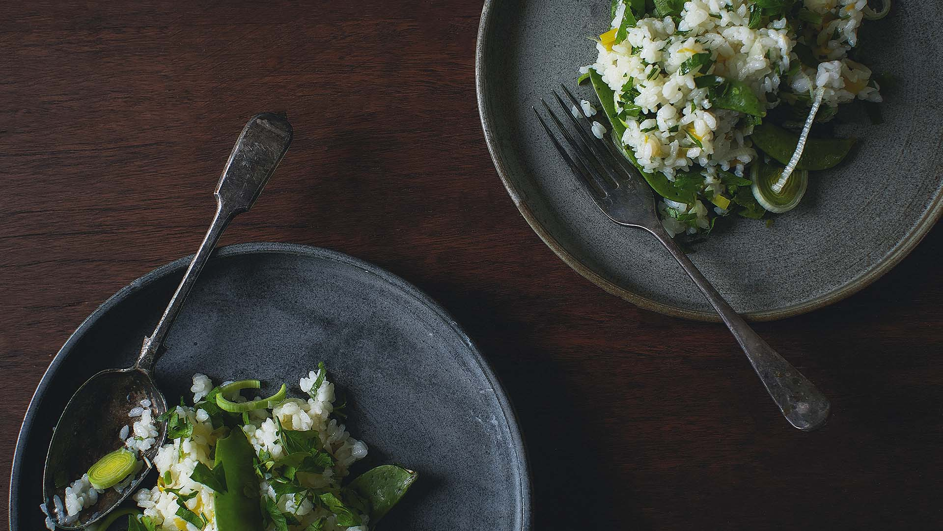 be_ Leek and pea risotto recipe