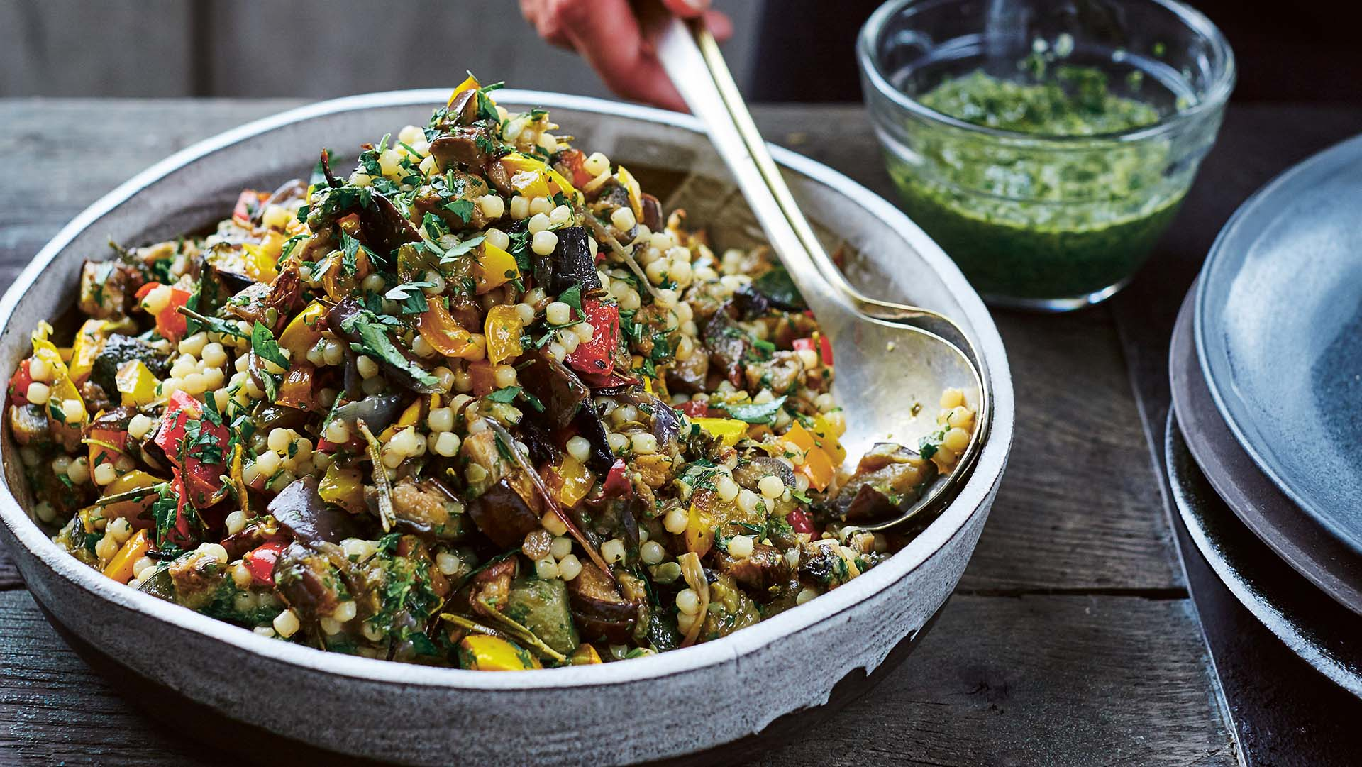 Roasted vegetables with giant couscous