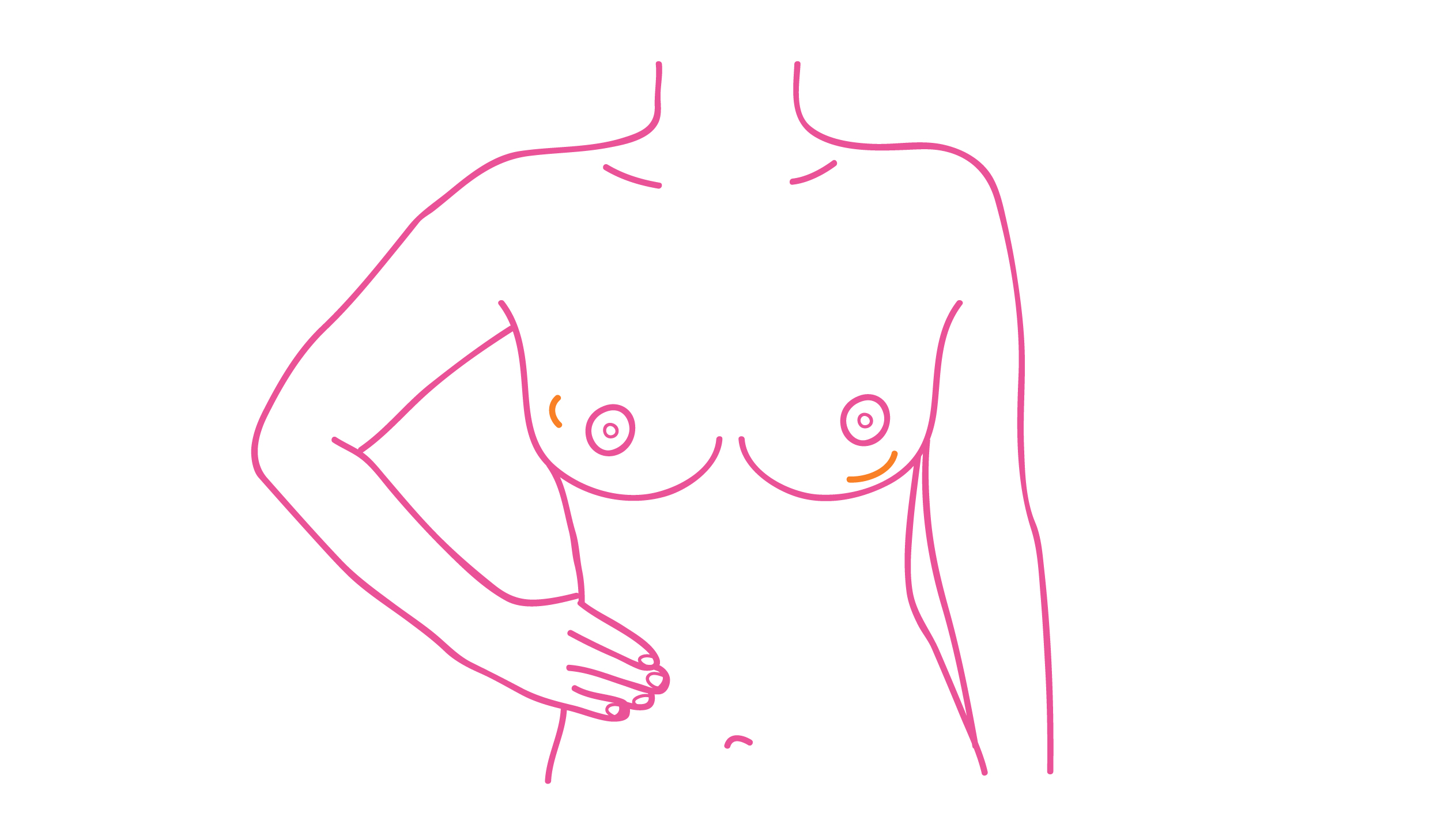 A lump, lumpiness or thickening that feels different from the rest of the breast, especially if it is only in one breast
