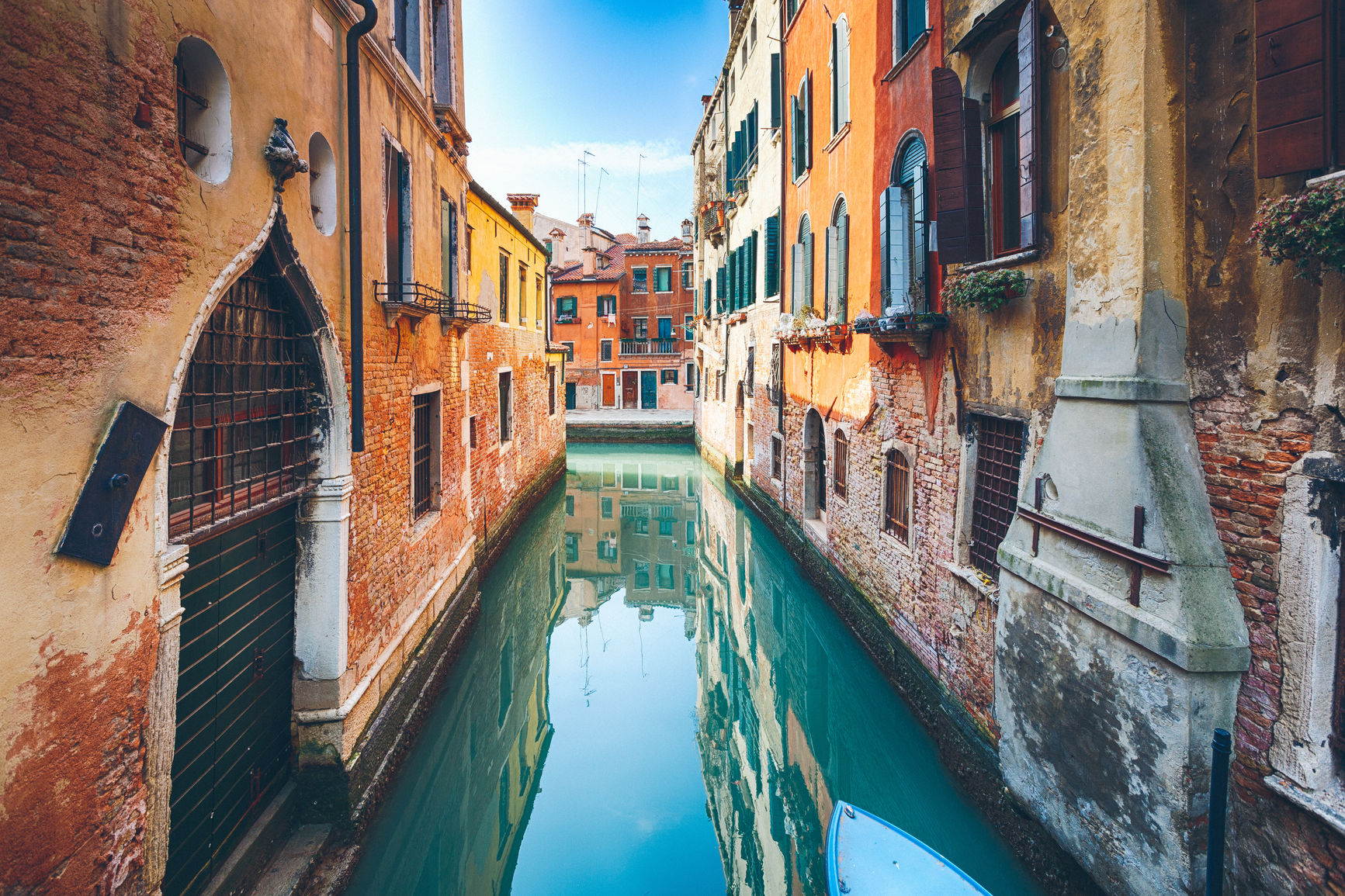 Colorful canal in Venice, Italy