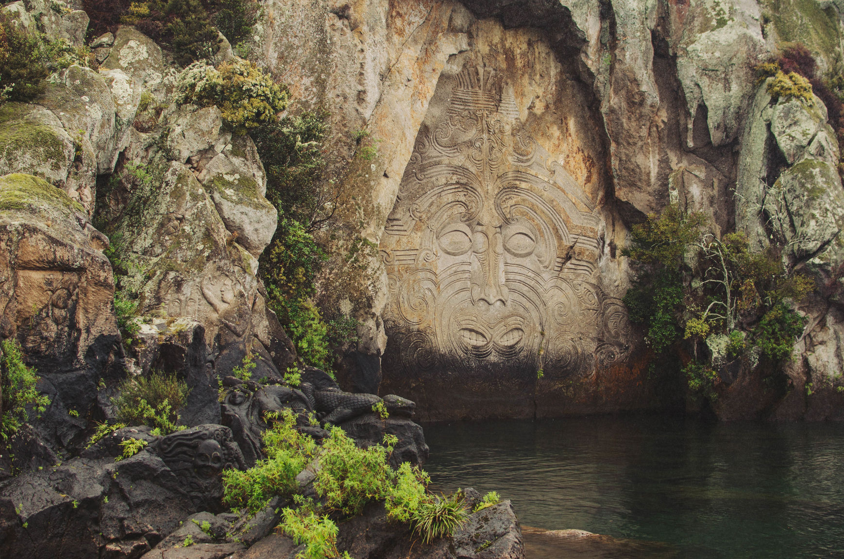 Traditional Māori Rock Sculpture On Lake Taupo