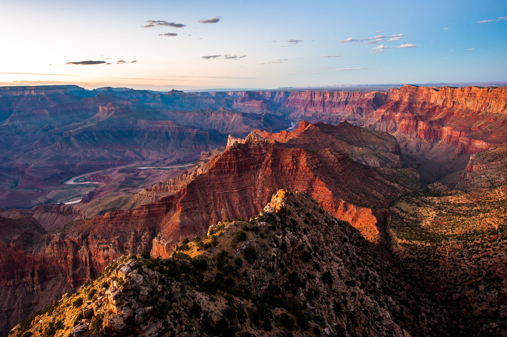 Sunset scenery from Grand Canyon South Rim, Grand Canyon National Park, USA