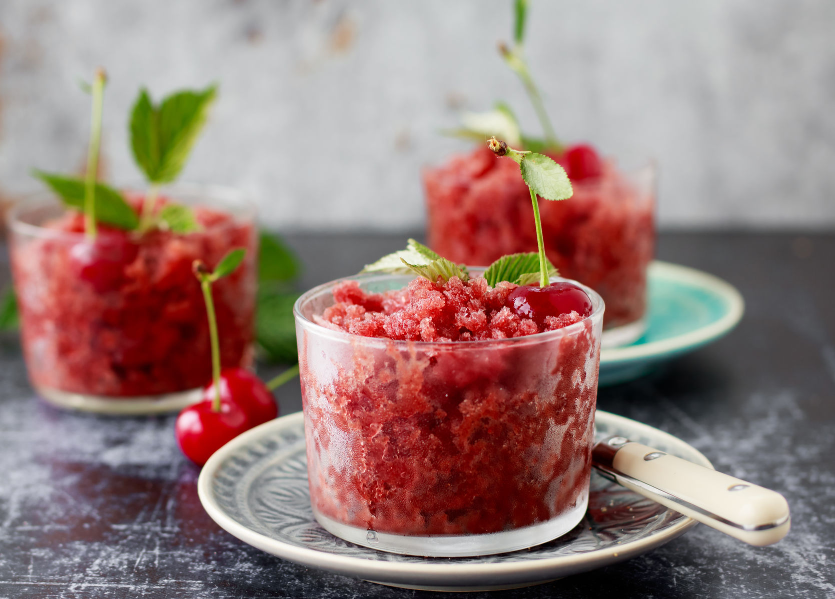 Homemade sour cherry and blackberry granita