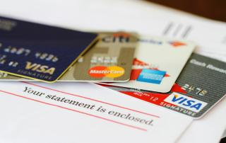 Closeup of several credit cards