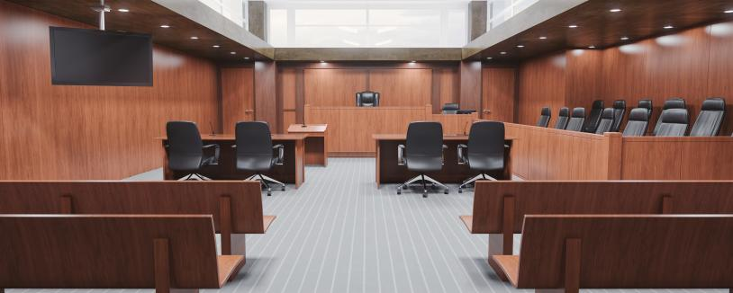 Empty courtroom, looking towards front of room