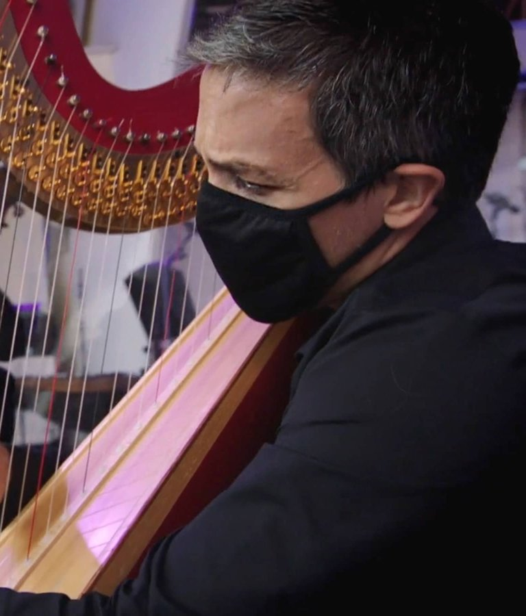 Harpist Emmanuel Ceysson during a performance for SOUND/STAGE.