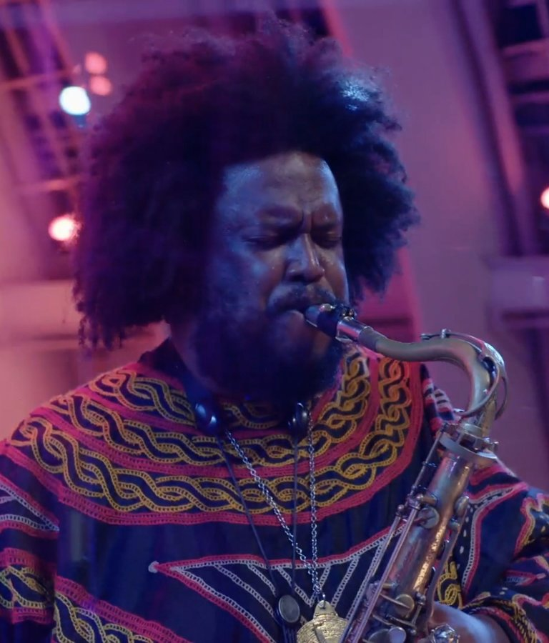 Kamasi Washington on tenor sax