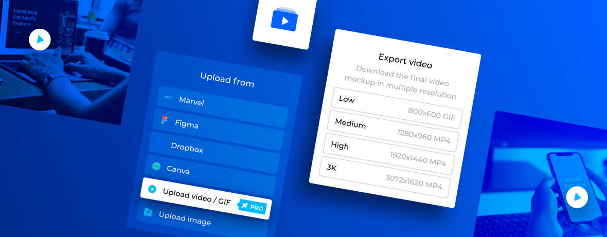 Bring your product mockups to life with video & GIF upload and export