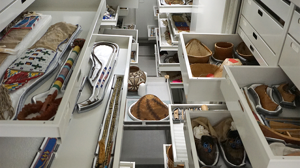An image of stored artifacts in collections at the Science Museum.