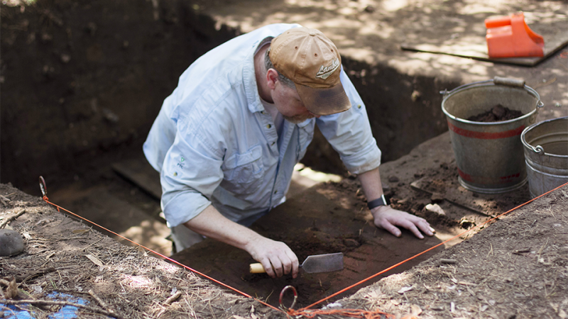 An archeologist working in the field.