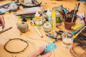 Craft supplies on wooden table