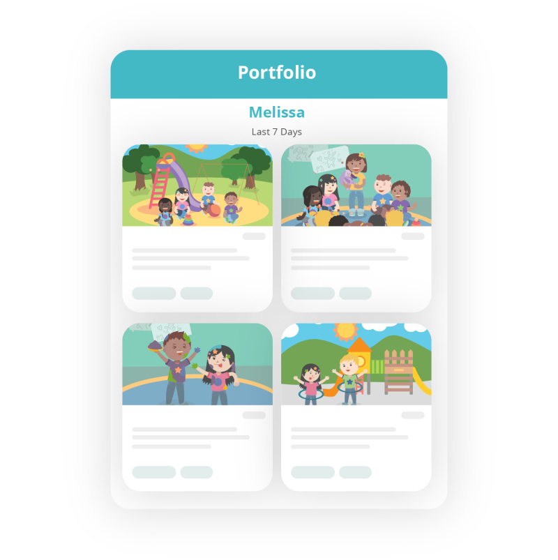 screenshot of a digital portfolio showing several kids activities