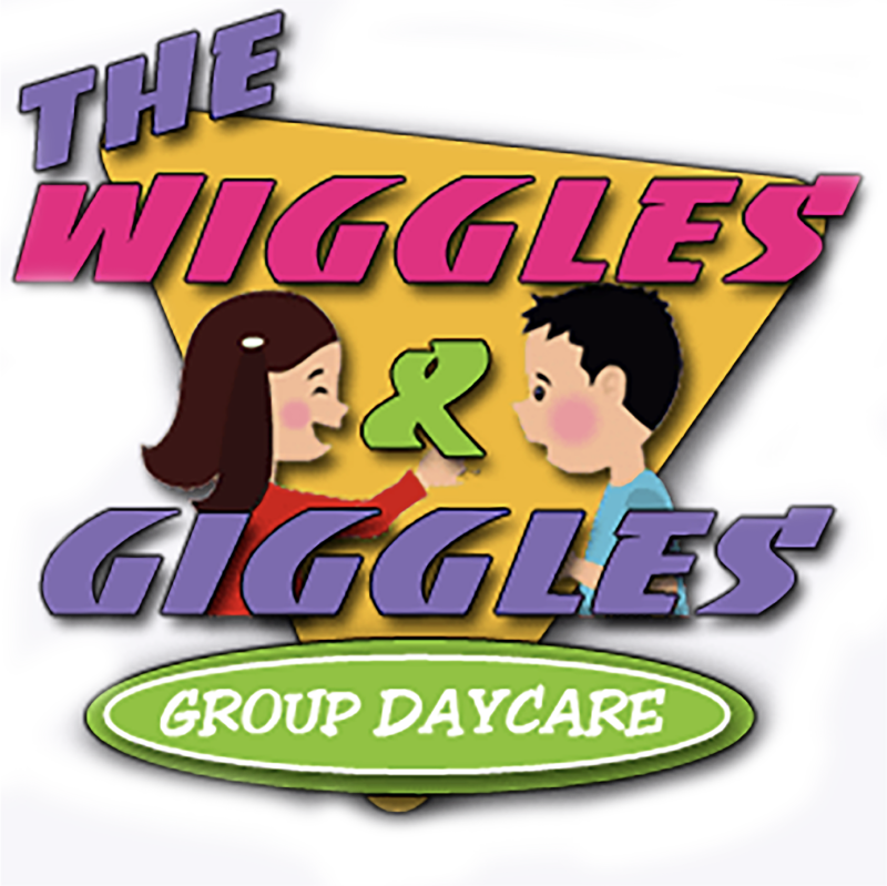 the wiggles and giggles daycare logo, with illustrations of a boy and girl looking at each other and a big yellow rectangle