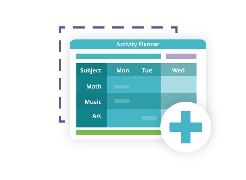 Screenshot of activity planner with a large blue plus sign inside a white circle, hovering over purple dashed rectangle