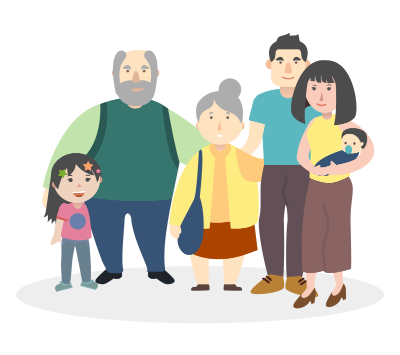 illustration of a family composed of a child, her two parents, a baby and two grandparents