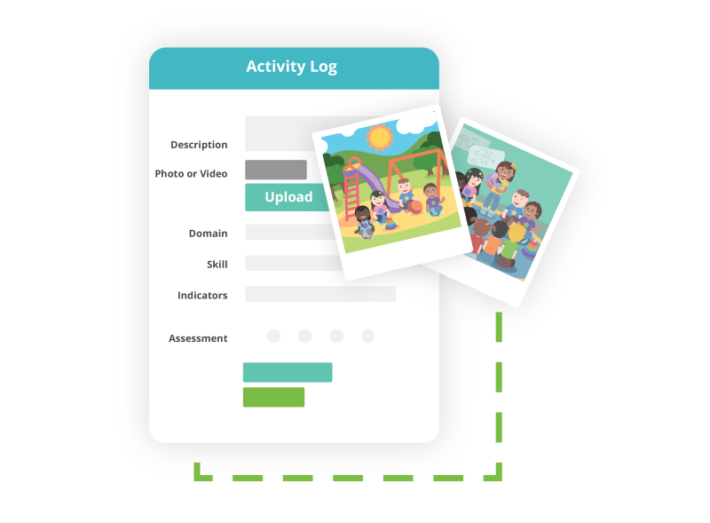 screenshot of activity log with two polaroid pictures hovering over a green dashed rectangle