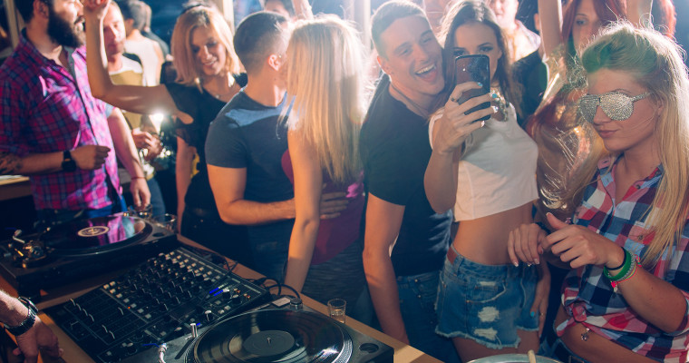 selfie in club seen from dj point of view SHT