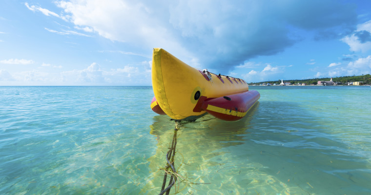 Banana boat in Benidorm on stag