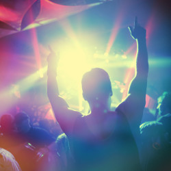party with guy having a lot of fun in dance floor or at concert SHT