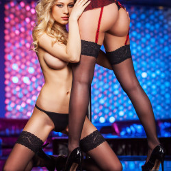 two strippers in strip club together performing lesbian show SHT