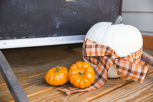 Harvest Decor Pumpkins with Ribbons.