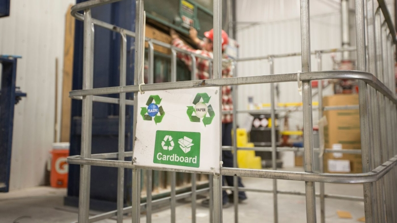 Recycling receptacle in a Clayton facility.