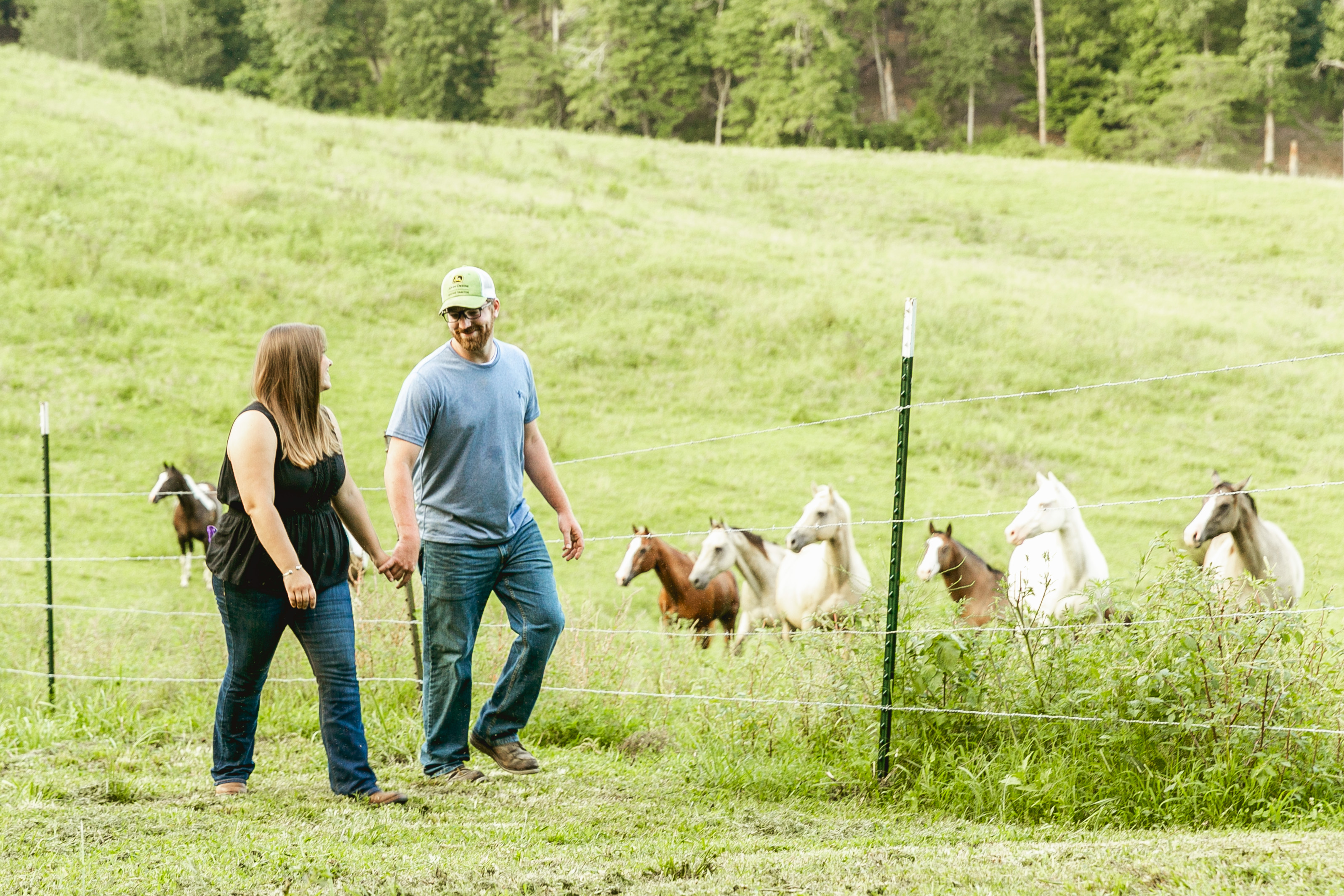 Couple holding hands and walking in a pasture by a fence with horses in the background